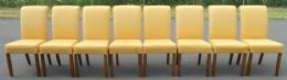 Set of Eight Highback Upholstered Dining Chairs